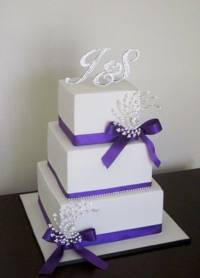White And Purple Bling Wedding Cake By Bee S Cake Design