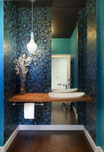 Very unique powder room black and turquoise wallpaper for Cool bathroom wallpaper