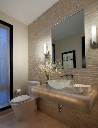 Underlit Stone Vanity With Glass Vessel Sink Creates A Feeli Bath Ideas