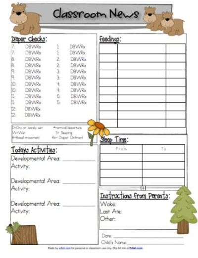 45 downloadable themed daily logs for infants daycare provi