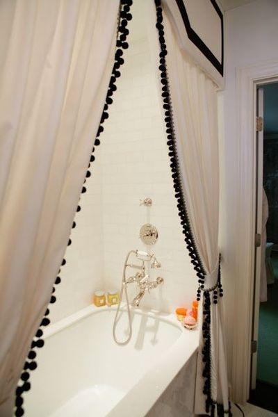 Pom Pom Trim Curtains And Cornice Board Bath Ideas