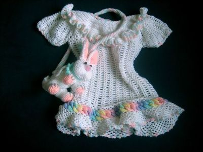 Baby Rainbow Rings Layette Dress Free Crochet Pattern Baby Time