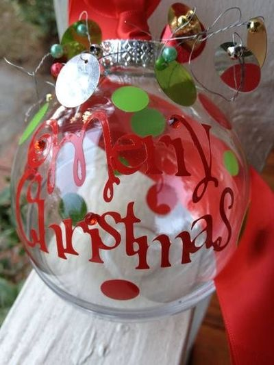 Christmas Ornament Vinyl Letters Cut With A Cricut Machine