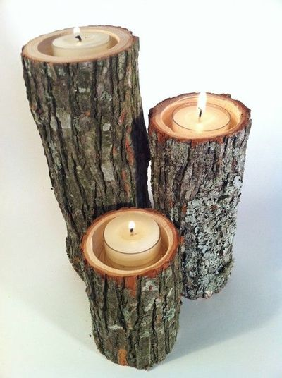 Tree Branch Candle Holders for the deck!