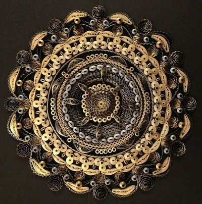 Quilled Gold, Silver, and Black Mandala by all things paper, via Flickr