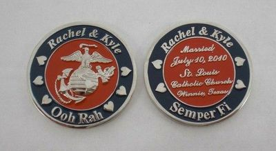 Very cute wedding challenge coin as wedding favors