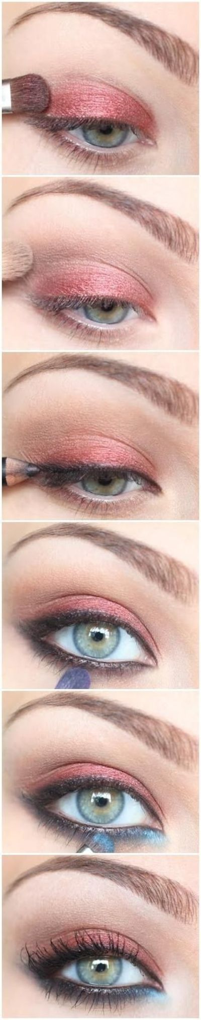 eyeshadow: coral shadow on top, light blue in the lower inner corner, the PERFECT way to make blue eyes pop!
