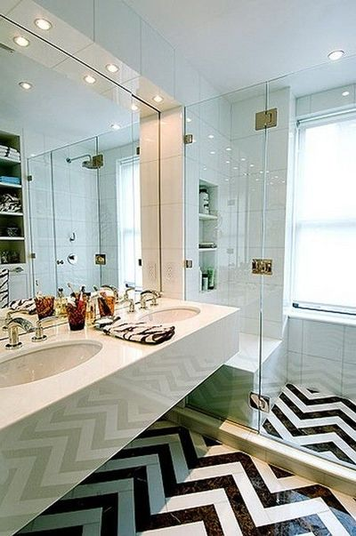 Bathroom Renovations Kingston Ontario: Graphic Chevron Bathroom Floor