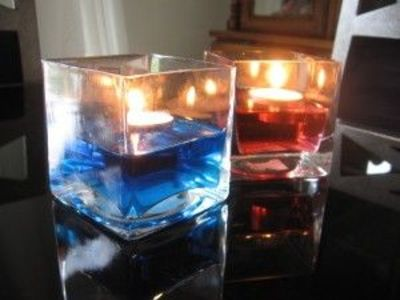 candles floating in dyed water