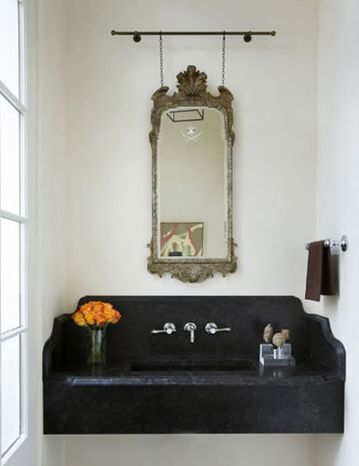 Rail + chain suspended antique mirror over floating vanity; ... / bath ideas - Juxtapost