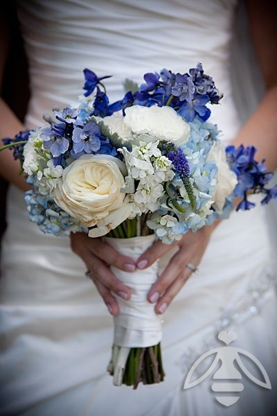 Blue And White Bridal Bouquet Featuring Shades Of Hydrangea Delphinium Veronica Garden
