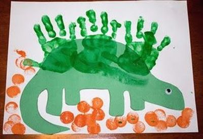 Handprint Dinosaur Art Project