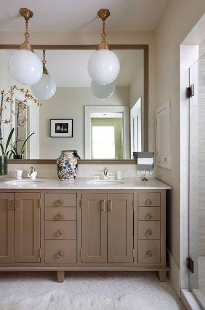 Greige cabinets with brass hardware bath ideas juxtapost - App to change color of kitchen cabinets ...