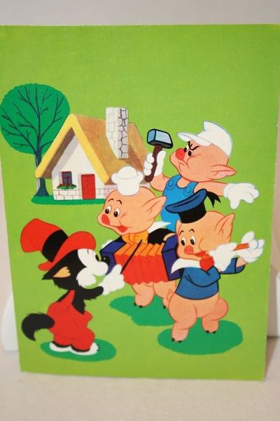 "On Ruby Lane - Vintage Walt Disney ""Three Little Pigs"" Post Card- 1960's"
