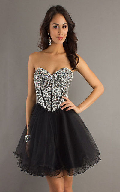 d5e8dd0c1fa Dave   Johnny 7521 Sparkly Top Black Strapless Short Prom Dresses For Sale