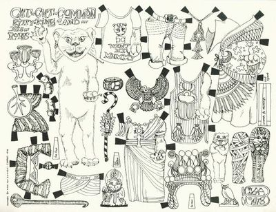 Egyptian Cat Paper Doll Coloring Page