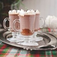 Black Bottom Hot Chocolate Mugs with Marshmallow Whipped Cream