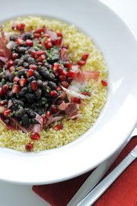 Couscous, Black Beans and Pomegranate by Salad Pride, via Flickr