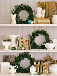 Wreaths on Shelves.