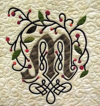 """You've got to check out this blog! When I first saw this monogram on a google image search for quilt pics & did the """"pin it"""" for this, a page full of glorious quilt photos opened up! I won'tpostthem all (even though I am tempted&#4..."""