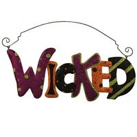 Glittered Wicked Halloween Sign at www.trendytree.com