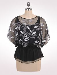 Women's | Tops | Embellished Leaf Blouse | dressbarn