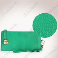 Fashion Real Cowhide Leather Purse Wristlet Clutch Evening Bag Handbag Green
