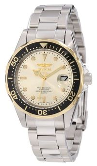 Invicta Women's Pro Diver Stainless Steel Case and Bracelet Champagne Dial Magnified Date.