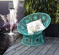 Blue crochet chair