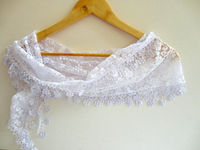 fashion scarves, new women scarf ,scarf trends, white scarf, Cowl Scarf with Lace Edge