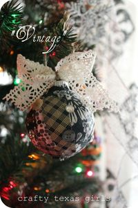 Crafty Texas Girls: Crafty How To: Shabby Chic Mod Podge Ornaments