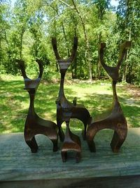 VTG 1960s MID Century Modern WOOD Modernist Holiday Christmas Reindeer retro 4ct