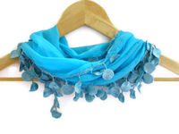 women fashion scarves, cotton scarves with lace new design blue, Turkish cotton Scarves, gift ideas fashion scarf, blue scarf