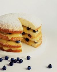Lemon Layer Cake with Curd and Blueberries