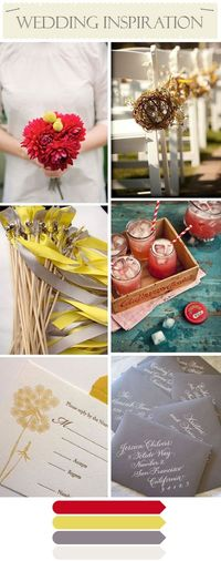 #gray, #red, and #yellow wedding inspiration