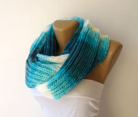 blue and white knitted woman scarf, infinity scarves , loop circle soft scarf