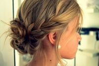Side braid with messy bun