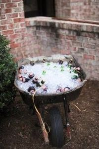 wheel barrel cooler- Outside by the lawn games?