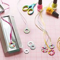 Ring-A-Lings: These pretty baubles have the look of glass enamel but are easily created by painting a metal washer with nail polish. Start with a base coat of white or yellow. Add colors, letting each coat dry before painting on top of it. Top the finishe...