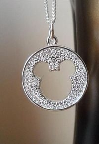 Mickey Mouse Silver Plated Crystal Necklace