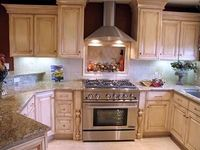 Glazed Off White Cabinets Traditional Kitchen