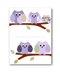 Childrens art kids wall art Baby Girl Room Decor owls