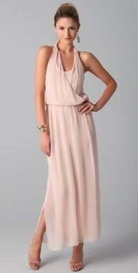 pale pink peach silk chiffon maxi dress