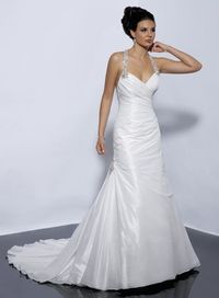 Modern halter natural waist taffeta wedding dress