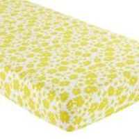 Baby Sheets: Yellow Floral Crib Fitted Sheet