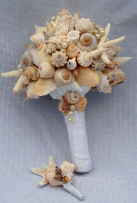 shell bouquet and boutonniere