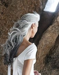 Gray silver. I want my hair to look like this when I'm older.