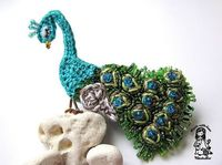 Crochet Peacock Brooch: No pattern, but certainly worth attempting sans pattern...if you are so inclined!