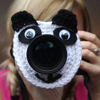 Camera lens buddy Crochet lens critter panda bear by Swifferkins, $12.99