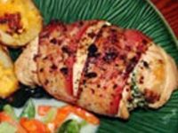 Chicken breasts stuffed with spinach mixture and wrapped in bacon